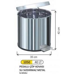 Pedallı Çöp Kovası 40 litre Su Sızdırmaz Metal İç Kovalı