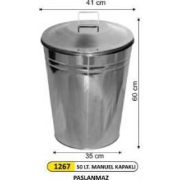 Paslanmaz Manuel Kapaklı Çöp Kovası 50 Lt