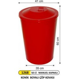 Boyalı Konik Manuel Kapaklı Çöp Kovası 50 Lt