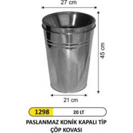 Paslanmaz Konik Çöp Kovası 20 Lt