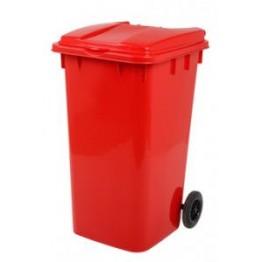 Endüstriyel Çöp Kovası 240 LT. Kırmızı