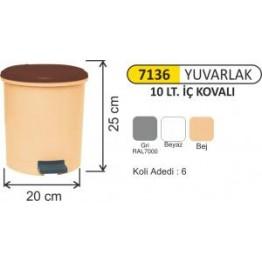 Pedallı Çöp Kovası Plastik 10 litre Yuvarlak