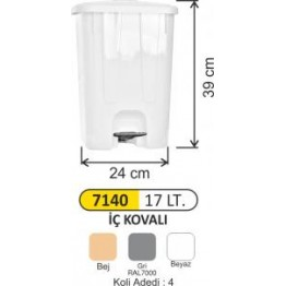 Pedallı Çöp Kovası Plastik 17 litre Köşeli