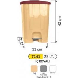 Pedallı Çöp Kovası Plastik 25 litre Köşeli