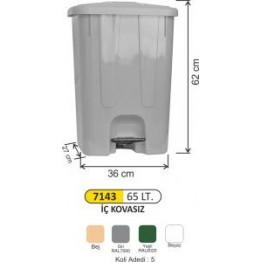 Plastik Pedallı Çöp Kovası 65 Litre Köşeli