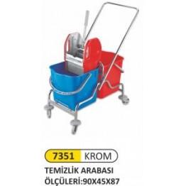 Çift kovalı temizlik arabası krom taşıyıcı metal rindo press