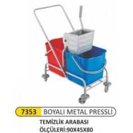 Çift kovalı temizlik arabası boyalı metal press
