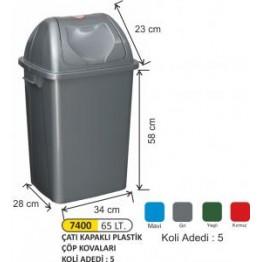 Çatı Kapaklı Plastik Çöp Kovası Plastik 65 litre