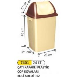 Çatı Kapaklı Plastik Çöp Kovası Plastik 24 litre