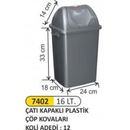 Çatı Kapaklı Plastik Çöp Kovası Plastik 16 litre