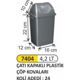 Çatı Kapaklı Plastik Çöp Kovası Plastik 4,2 litre