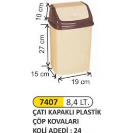 Çatı Kapaklı Plastik Çöp Kovası Plastik 8.4 litre