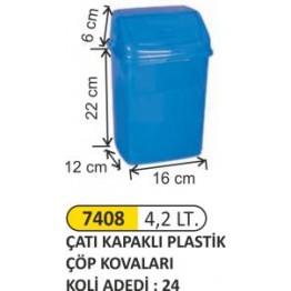 Çatı Kapaklı Plastik Çöp Kovası Plastik 4.2 litre