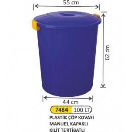 Plastik Çöp Kovası Manuel Kapaklı 100 litre