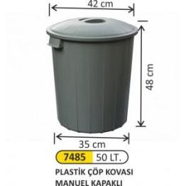 Plastik Çöp Kovası Manuel Kapaklı 50 litre