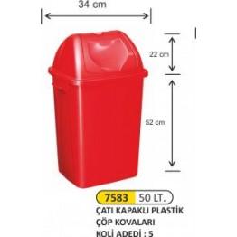Çatı Kapaklı Plastik Çöp Kovası Plastik 50 litre