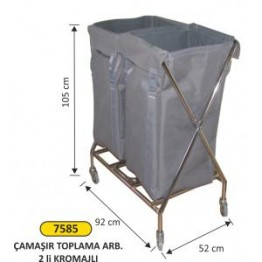 Çamaşır toplama arabası 2 li krom