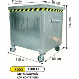 1100 Litre Metal Galvaniz Çöp Konteyner