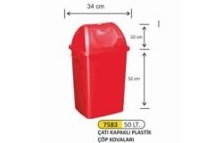 İtme Kapaklı Plastik Çöp Kovaları